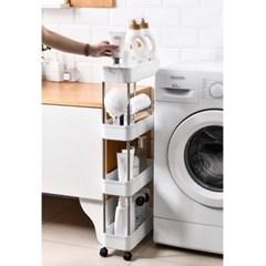 슬림 4단 이동식 틈새선반(폭14cm) (스틸봉) 욕실 이동식트레이