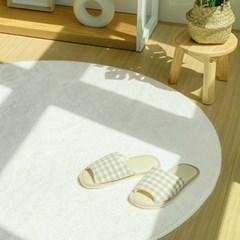 플러피 원형 사계절 거실 바닥러그 물세탁가능 러그 120cm