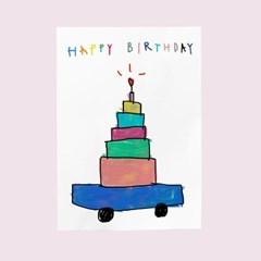 생일카드-자동차케익