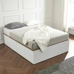 우앤 대용량 도어형 높은침대 퀸 침대프레이만