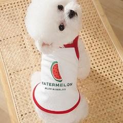 강아지 쿨 티셔츠 - 수박 끈나시