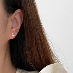 실버925 나비 큐빅 스터드 귀걸이
