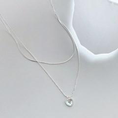 (silver 92.5) 하트 오팔 팬던트 목걸이