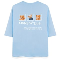 곰돌몬빌 7부 티셔츠 오버핏 남여공용