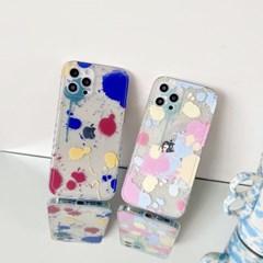 페인트 스팟 아이폰 미니하트 투명 테두리 케이스