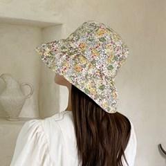 코튼 플라워 셔링 벙거지 여성 여름 버킷햇 모자