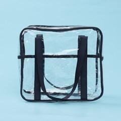 컬러팝 방수 투명 비치백(네이비)