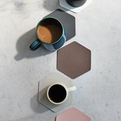 푸코 인조가죽 헥사곤 컵받침 코스터 4개세트(5color)_(2146033)