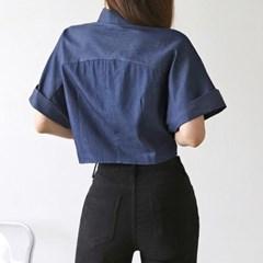 여자 크롭 청남방 통소매 반팔 셔링 숏기장 데님 셔츠