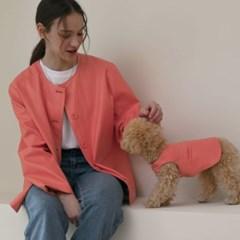 페이크레더 논슬리브 원피스 for dog (coral)