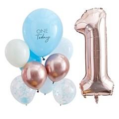 [빛나파티]블루, 로즈골드 첫번째 생일 돌잔치 풍선 10개 세트