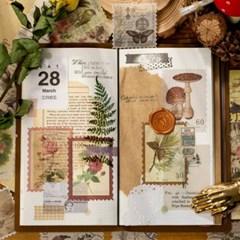 빈티지 인물 꽃 우표 다꾸 스티커 4종