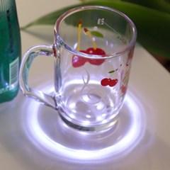 LED 컵받침 아크릴 티코스터 라운드원형 (화이트)_(301873500)