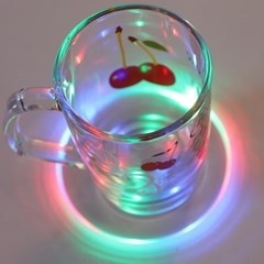 LED 컵받침 아크릴 티코스터 라운드원형 (레인보우)_(301873499)