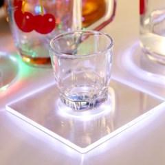 LED 컵받침 아크릴 티코스터 스퀘어사각 (화이트)_(301873498)