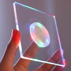 LED 컵받침 아크릴 티코스터 스퀘어사각 (레인보우)_(301873497)