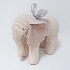 리틀램스토리 코튼 코듀로이 코끼리 인형 (리본에 이름자수)