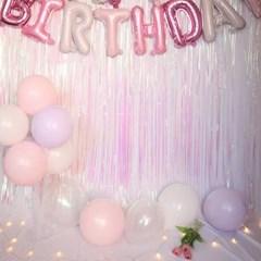 핑크 보라 알파벳 풍선 생일파티세트