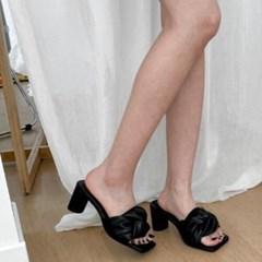 여성 여성 가죽 스퀘어토 꼬임스트랩 통굽 뮬슬리퍼힐 DONA-7701