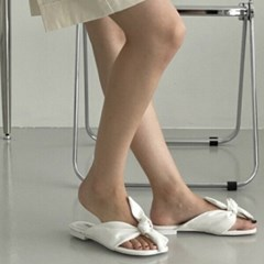 여성 여성 가죽 스퀘어토 꼬임 리본 스트랩 슬리퍼 DONA-7638
