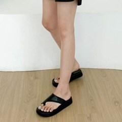 여성 여성 가죽 스퀘어토 와이드 스트랩 통굽 슬리퍼 DONA-7666