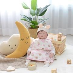 베이비앤아이 조끼형 이유식 방수 턱받이-구름(핑크)