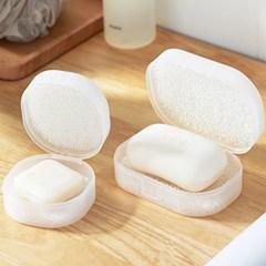 화이트 휴대용 비누 거치대 받침대 케이스 (소)