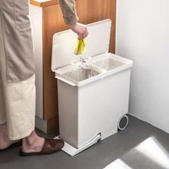 화이트 2칸 쓰레기통 휴지통 분리수거함