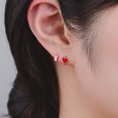 실버925 미니 러블리 하트 원터치 링 귀걸이