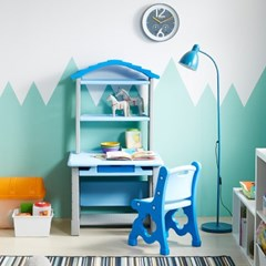 하이지니프로 유아동 책꽂이 책상 및 의자세트 파스텔블루