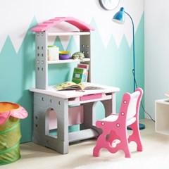 하이지니프로 유아동 책꽂이 책상 및 의자세트 파스텔핑크