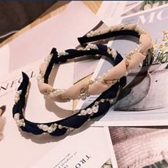 진주 큐빅 꼬임 디자인 얇은 헤어밴드 데일리 가벼운 머리띠