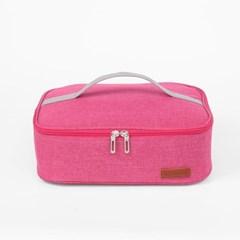 컴팩트 사각 보온보냉 도시락 가방 식판 런치백 핑크