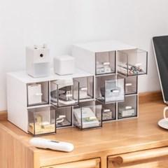 테트리스 나만의 데스크오거나이저 정사각형 투명서랍 책상정리함