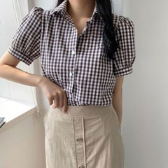 여름 루즈핏 카라넥 셔링퍼프소매 고방체크 면 셔츠남방