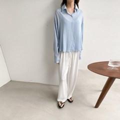 여름 투피스 루즈핏 슬립 링클 끈나시 카라 셔츠 블라우스 세트