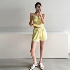 여름 투피스 홈웨어잠옷 레이스 셔링 끈나시티 밴딩 반바지