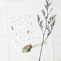 펜드로잉 투명 스티커_식물