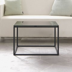 스틸 사각 8mm 강화유리 소파 테이블 550