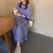 여자 여름 스트라이프 캐주얼 박시핏 라운드 반팔 롱원피스