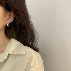 [925실버] 진주베어 실버 원터치링 귀걸이