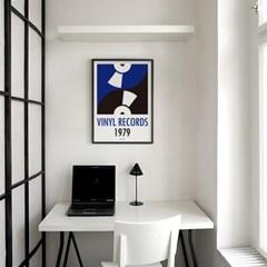 블루 바이닐 레코드 M 유니크 인테리어 디자인 포스터 음악