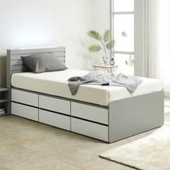 노뎀 LED 높은 2단 전체서랍 침대SS+독립 매트리스