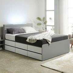 노뎀 LED 높은 2단 전체서랍 침대Q+독립 매트리스