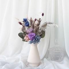라벤더 프리저브드플라워 장미와 카네이션 다발 (M)