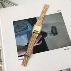 [카시오정품] 스퀘어 레트로 메탈 손목 시계_(골드)
