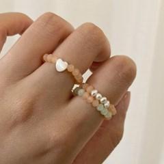 [1+1] 파스텔 비즈 구슬 자개 하트 우정 제작 고무줄 반지