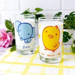 캐릭터유리컵 코끼리 병아리유리컵 6P 오션글라스