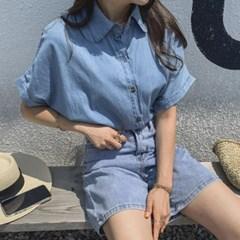 여자 통소매 가오리 커프 반팔 청남방 사파리 셔츠