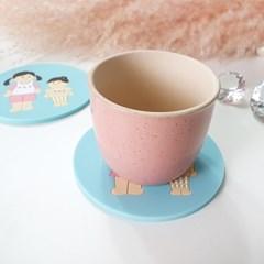 아기자기 귀여운 척척자매 실리콘 컵받침 티코스터 주방소품